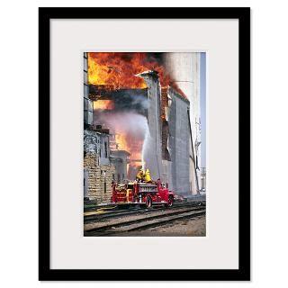 Rural Community Firefighters Battle Large Dangerou Framed Print