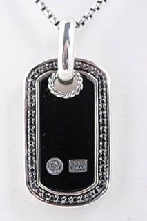 David Yurman Black Onyx Dog Tag Diamond Necklace 17 18 $875