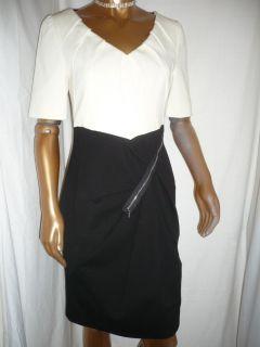 Karen Millen New Black White Colourblock Zip Dress Size 14