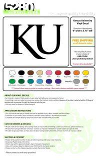 KU Kansas University Vinyl Decal Car Sticker 6 x 3 75