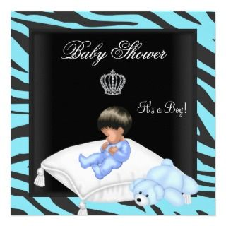Baby Shower Boy Blue Black Crown Prince Invitations