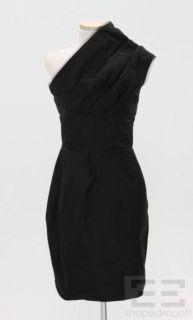 Karolina Zmarlak Black Taffeta Mesh Trim One Shoulder Dress Size XS