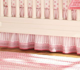 Pottery Barn Kids Karina Bed Skirt Pink White Queen Size Cottage Cute