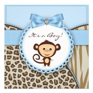 Blue Monkey Baby Boy Shower Personalized Invitations
