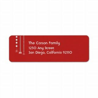 Hanging Snowflakes Return Address Label (red)