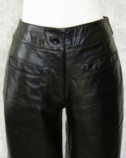 Katharine Hamnett Sexy Black Leather Pants 27 Thick Jeans Rocker