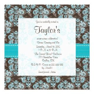Turquoise Brown Damask Sweet Sixteen Invitations