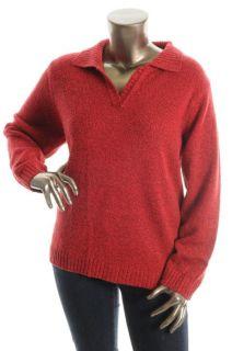 Karen Scott New Red Collar Marled Long Sleeve Henley Sweater Plus 3X