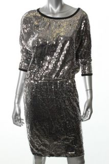 Karen Kane Lifestyle Black Sequined Scoop Neck Blouson Clubwear Dress
