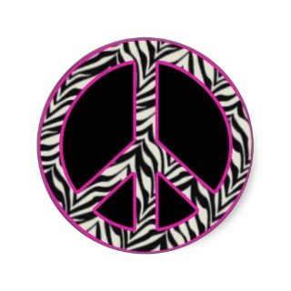 Zebra Print Peace Sign Sticker stickers by SayItNow