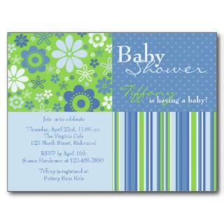 Fizz Blue & Green • Baby Shower Invitation Postcard
