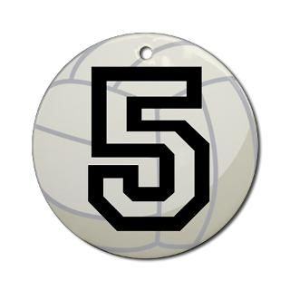 Volleyball Player Number 5 Ornament (Round) for $12.50