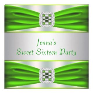 Lime Green Diamonds Sweet Sixteen Invitation