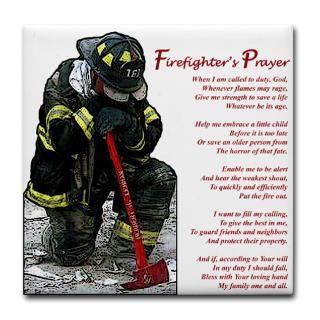 Firefighter Prayer Tile Coaster  Firefighters Prayer  FIRE