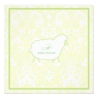 Little Lamb Baby Shower Invitation  Green