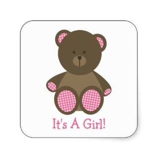 Girl Baby Shower Pink Gingham Stuffed Bear Square Stickers