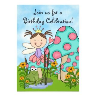 Brunette Fairy Princess and Frog Birthday Invite