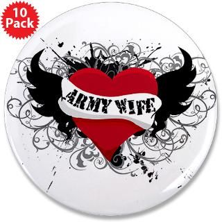 ARMY WIFE; HEART & WINGS TATTOO 3.5 Button (10 pa by americanstyle