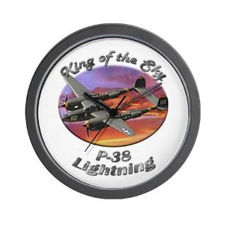 Air Force Gifts  Air Force Home Decor  P 38 Lightning Wall Clock