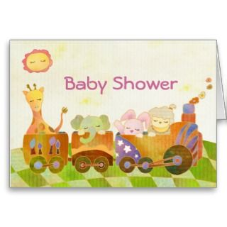 Baby Animals on ChooChoo Train Baby Shower Sticker