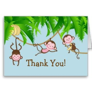 Baby Monkeys Thank You Note Card