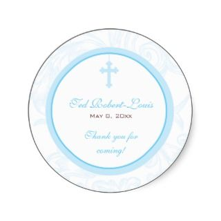 Blue Scroll Cross Address Label/Favor Sticker