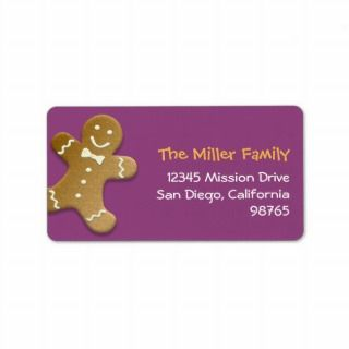 Gingerbread man cookie purple return address personalized address
