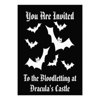 Gothic Horror Vampire Bats Custom Invitations
