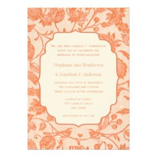 Vintage Peach Floral Pattern Love Bird Wedding Custom Invite