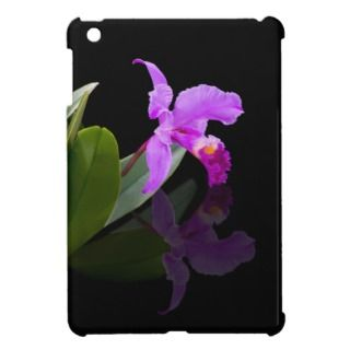 Orchid Reflected on Black Floral iPad Mini Case