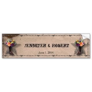 Country Western Barbed Wire Wine Label Bumper Stickers