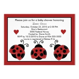 Red and Black Baby Shower Invitation So Cute