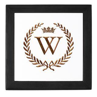 Napoleon initial letter W monogram Keepsake Box