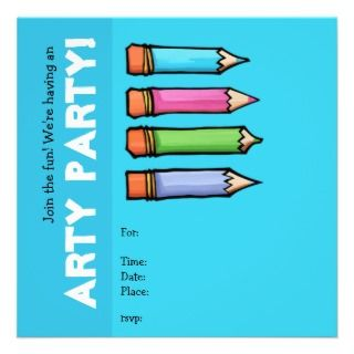 Colored Pencils blue Party Invitation