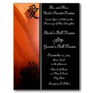 Orange Poppy Wedding Invitations and Favors Post Cards