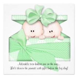 Green TWINS Baby Shower Invitation or Announcement