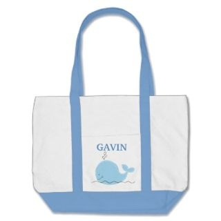 Cute Little Whale Diaper Tote Bag   add a NAME!