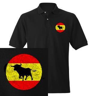 spain bull flag men s polo embroidered $ 32 95