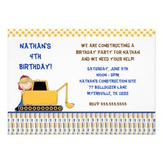 Boy with Bulldozer Birthday Party Invitation