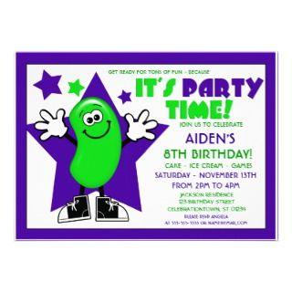 Green Jelly Bean Birthday Party Invites