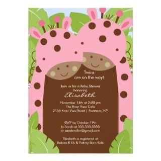 Twins Giraffe Baby Shower Invitation Pink Girls