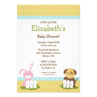 Sweet Baby Animals Baby Shower Invitation