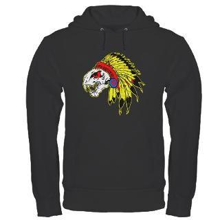 Skull Indian Headdress Womens V Neck Dark T Shirt