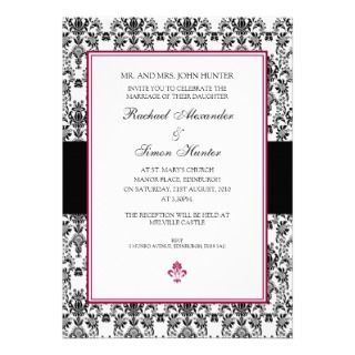 White Damask Wedding Invitiation Custom Invitations