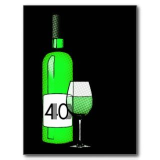 40th birthday or anniversary  wine bottle & glass custom photo card