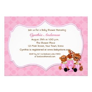 Baby Animals, Pink, Baby Shower Invitation