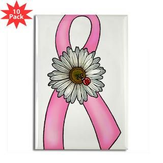 Pink Ribbon, Daisy & Ladybug Rectangle Magnet (10