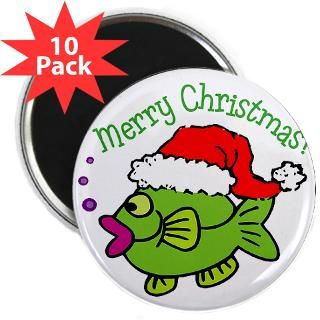 MERRY CHRISTMAS (GIRL SANTA FISH)  Eastover Graphics