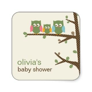 Dotty Owls Favor Stickers or Gift Tag Stickers