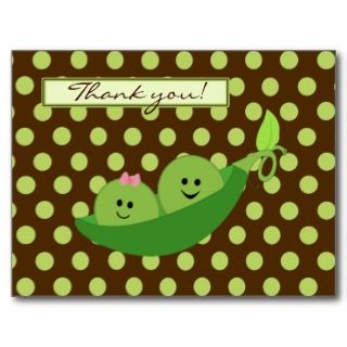 Twins Peas in a Pod Baby Shower Thank You Post Card